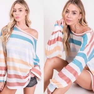 Tops - Oversized Colorful Waffle Striped Long Sleeves ❄️